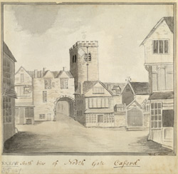 South view of north gate, Oxford